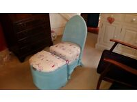 Lloyd Loom Style Nursing Chair with Footstool/Basket finished in sky blue with Seaside Theme