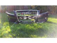 Audi a5 sport front bumper, front grille, side grille, front fog lights. 2008 Panther black