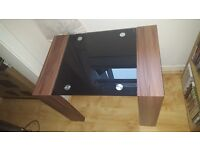 New Boxed Black Glass Table - Walnut Effect