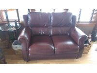 Brown leather sofa, chair and storage foot stool