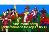Kids birthday CLOWN MASCOT Entertainer SPIDERMAN MINNIE MICKEY MOUSE Childrens hire Balloon modeller