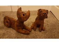 Brand new faux leather bulldog and cat doorstops/decorative items