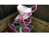 Girls small dolls pram
