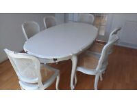 Dining table & 6 chairs; painted solid wood (grey); Vintage/French/Louis XV style; upcycle potential