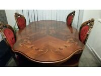 Dining table (brown) 4 chairs, great quality ITALIAN MAHOGANY