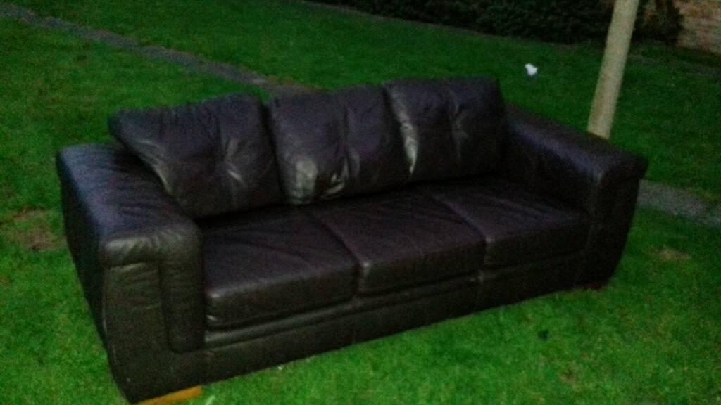 3 seater dark brown leather