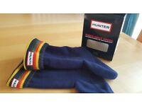 BNIB Hunter Kids Welly Socks XS to fit shoe size 10 - 12 Fleece with Stripe Cuff