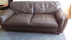 Brown Leather Sofa, in good conditon £120 on near offer!