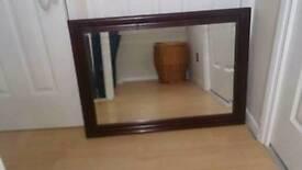 Large Dark wood brevilled Mirror