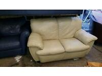 2 seater sofa in cream leather £65 delivered