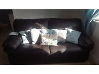 3 and 2 seater leather sofa