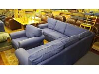 Blue IKEA Corner Sofa with Armchair & Foot Stool
