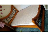Wood & Metal Double Bed frame £90 With free Mattress