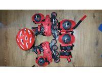 Boys inline Skates, Pads and helmet