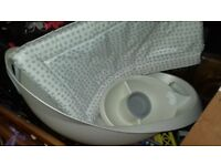Mothercare baby bath and top and tail bowl with changing mat