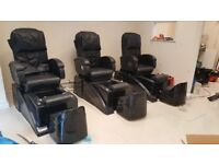 2x spa pedicure chairs, with electric back massage, includes technican stool £400 MUST GO !