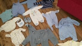 Baby boy clothes tiny baby -9 months; fleece blanket, baby walker, cot bumper-all for £25