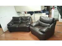 2+1seater sofa in brown leather