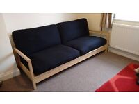 IKEA 3 Seat Lillberg futon sofa - black cushions - REDUCED PRICE!