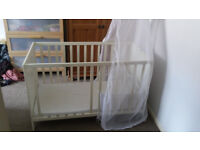 Baby or toddler bed/cot white 120 x 60 cm