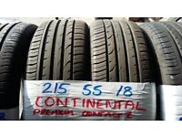 set of 4 matching 215 55 18 contis 7mm tread £40 each SUP & FITD or £150 set of 4 (loads more av)