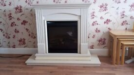 Fire- electric, freestanding with surround and stone marble plinth