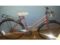 """ladies emmelle bike 3 speed stumery archer gears 18"""" frame fully serviced gears breaks and wheels"""