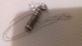 "Beautiful Silver Chain 16"" with ornate silver cylinder and ruby on the end"