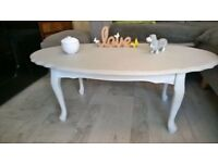 Shabby Chic coffee table in light frey and white lovely shape