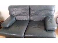 Dark green 2 seater leather sofa