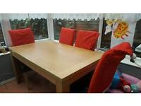 6 seater table 4 black leather chairs