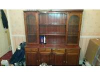 Large wood cabinet and bookcase