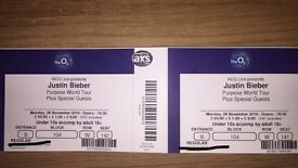 2 x Justin Bieber Purpose World Tour Tickets O2 Arena