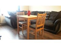 Square Solid Wood Table & 2 Chairs