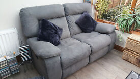 two seater grey suede recliner sofa