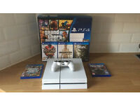 PS4 PlayStation 4 Glacier White 500GB Immaculate Condition + 5 Games, 1 Controller