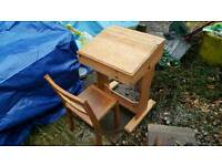 Pine kids desk and chair