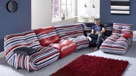 Five piece CSL 'wave' sofa suite