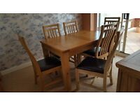 Calais dining table with 6 chairs, display unit sideboard