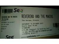 Reverend & The Makers Tickets x 3. Glasgow.