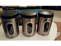 Set of 3 stainless steel canisters