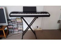 AS NEW CASIO CDP 120 DIGITAL PIANO INCLUDING STAND, PEDAL AND USB CABLE