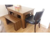 Dining Table, Chairs and Benches. Good condition. Sits 6 comfortably, 8 if some children. £400 new.