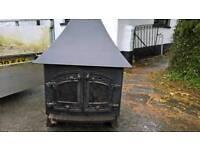 Villager wood burner with back boiler