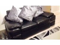 Black Leather 2 seater sofa & chair