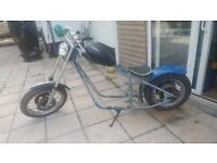 uncle bunts chopper frame narrow tube frame wheels tank seat battery box lights