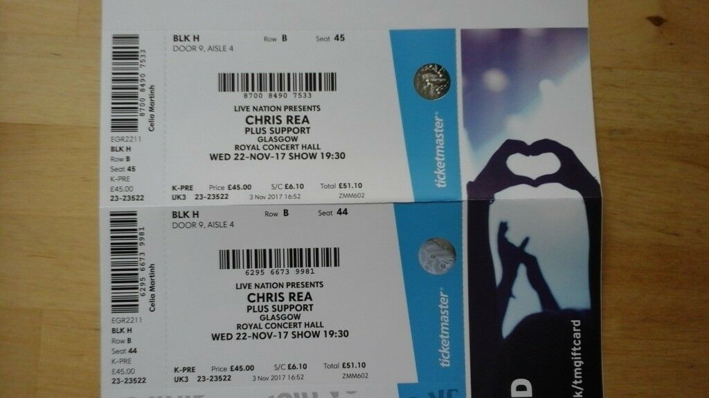 Two tickets for sale to see Chris Rea, Royal Concert Hall Glasgow, Wednesday 22nd November.