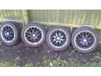 BBS rx2 alloys 4 new tyres. From VW polo also fit golf SEAT AUDI 5stud