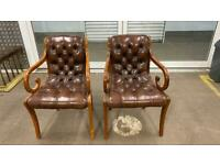Stunning pair of leather chesterfield desk chairs £275
