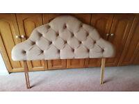 Vintage / Retro Beige Padded Double Headboard, Bedroom Furniture, Beds